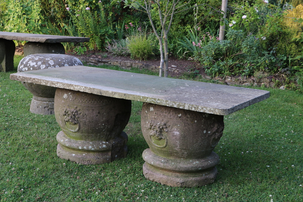 large stone patio table with rounded stone bases stk no 3877