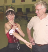 Ballerina Daria Klimentova showing her iPod Nano to ballet master David Wall in the lower studio at ENB. For more detail, see the end of this article