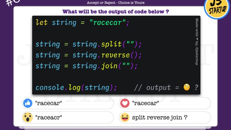 JavaScript Quiz – Find out the output of a reverse string