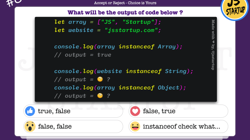 JavaScript Quiz – can really instanceof operator work on string literal