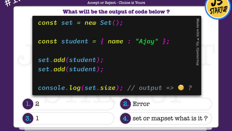 JavaScript Quiz – does set object really store duplicate object