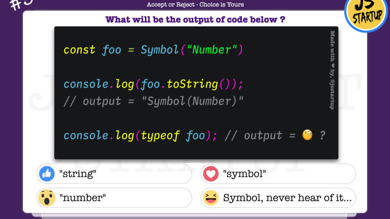 JavaScript Quiz – does typeof of Symbol really give a string