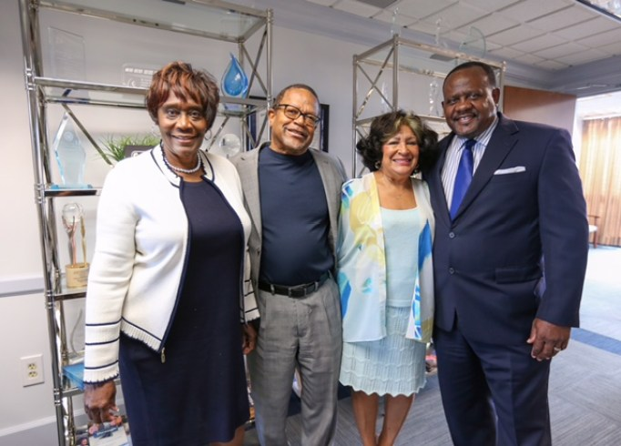 Dr. Evelyn Jl Leggette, provost and senior vice-president for academic and student affairs; Dr. William McHenry, executive director, Mississippi e-Center Foundation; Jsu President Dr. Carolyn W. Meyers; and Dr. Daniel Watkins, dean, College of Education.
