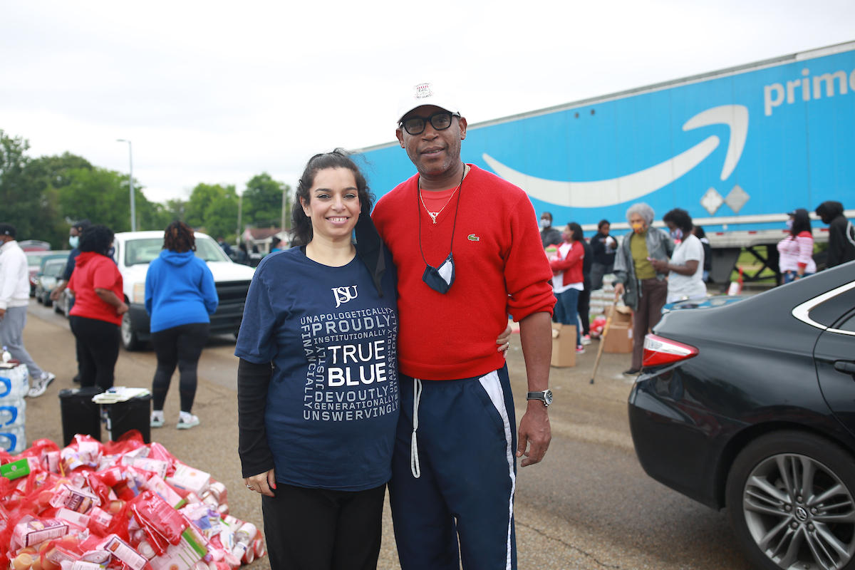 Dr. Heather Denné, director of JSU's Center for Community Development, got lots of help from husband Rod Denné. They handled all of the logistics for the event that served a number of communities. (Photo by William H. Kelly/JSU)