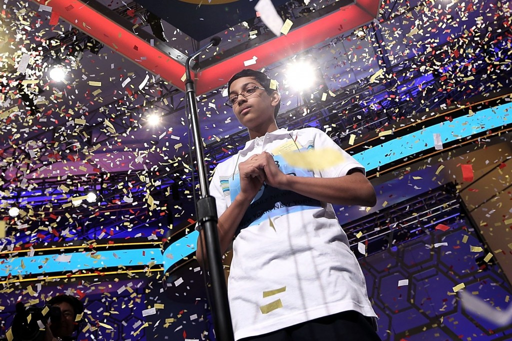 Confetti falling over Arvind Mahankali of Bayside Hills, N.Y., after he won the 2013 Scripps National Spelling Bee in National Harbor, Md., May 30, 2013. (Alex Wong/Getty Images)