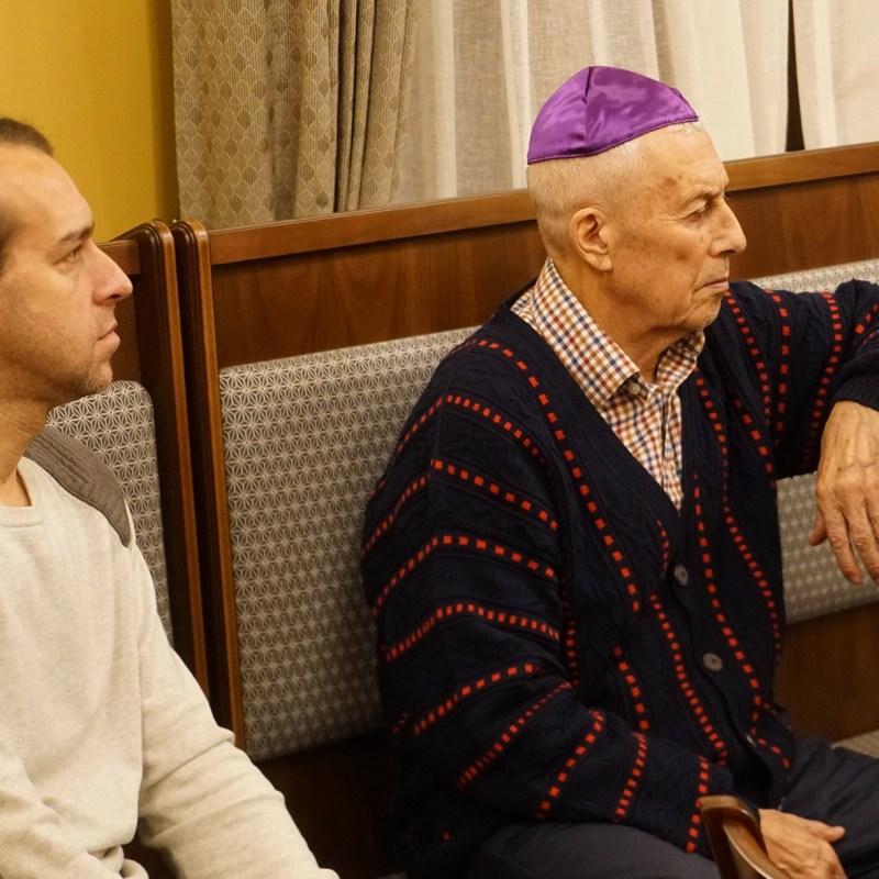 Mark WolfsoLev Ostrovsky attending Jewish studies lesson at the synagogue of Jurmala, Latvia on Oct. 29, 2019 (Cnaan Liphshiz)