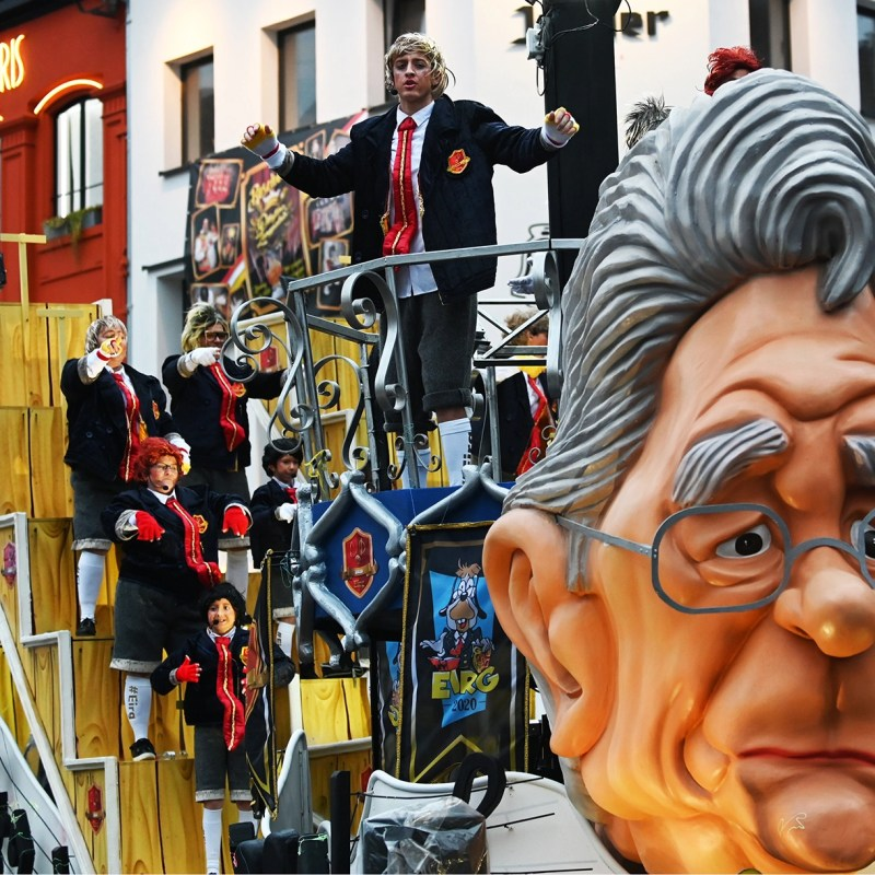 Most of the floats have no racist overtones at the annual carnival in Aalst, Belgium, including this one pictures there on Feb. 23, 2020. (Cnaan Liphshiz)