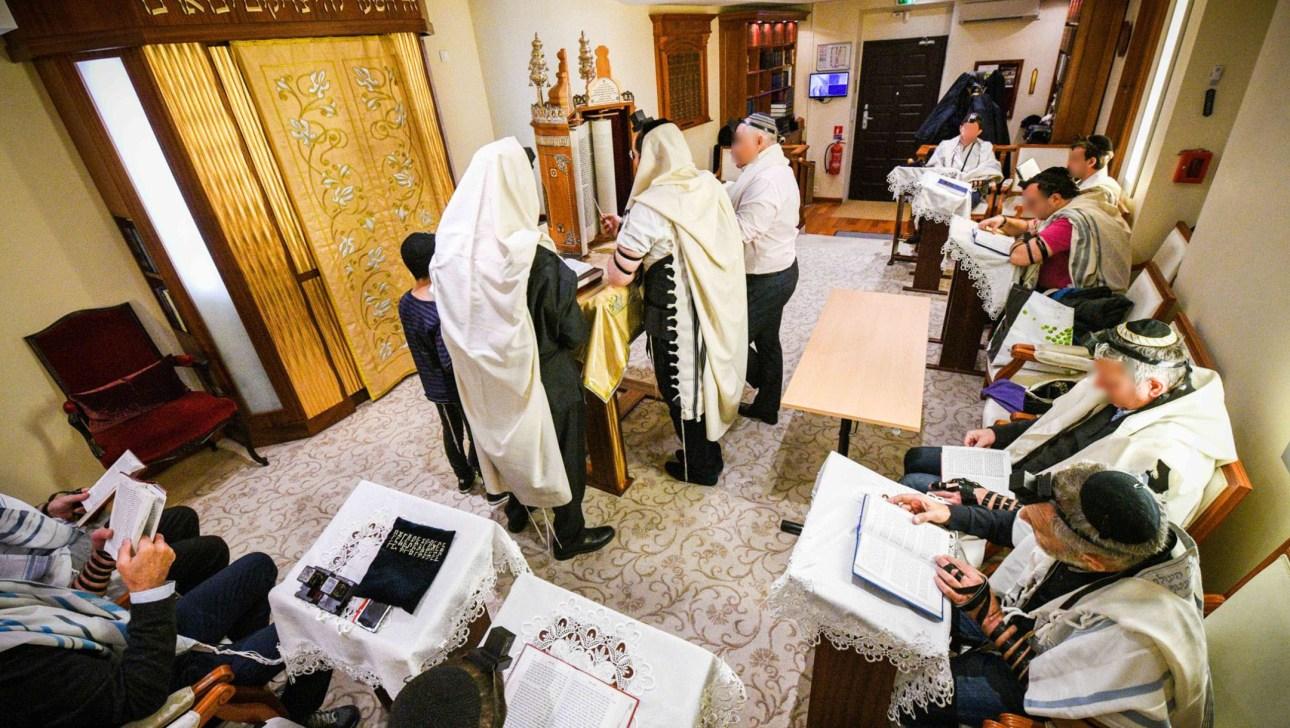 Jews pray at the Jewish Cultural Center of Monaco in 2018. (Courtesy of Rabbi Tanhoum Matusof)