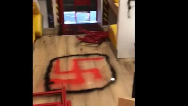 The aftermath of anti-Semitic vandalism at a kosher restaurant in Paris, France on Oct. 2, 2020. (UEJF)