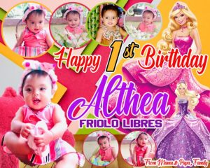Barbie inspired Theme 1st Birthday Tarpaulin Design