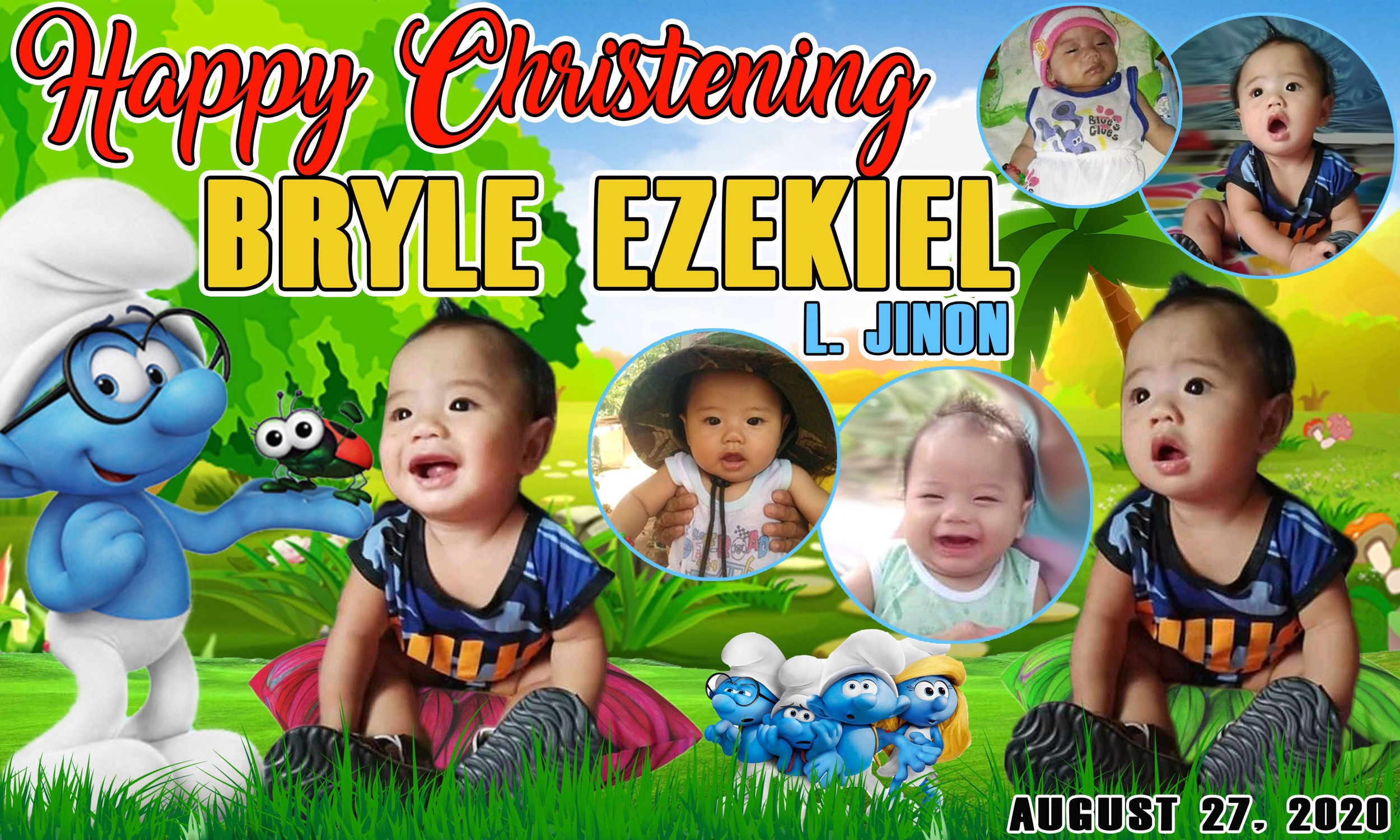 The Smurf Theme Christening Tarpaulin Design