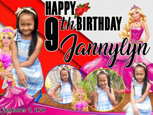 Barbie Theme 9th Birthday Tarpaulin Design