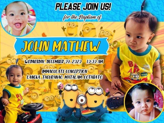 minions invitation blue and yellow motif