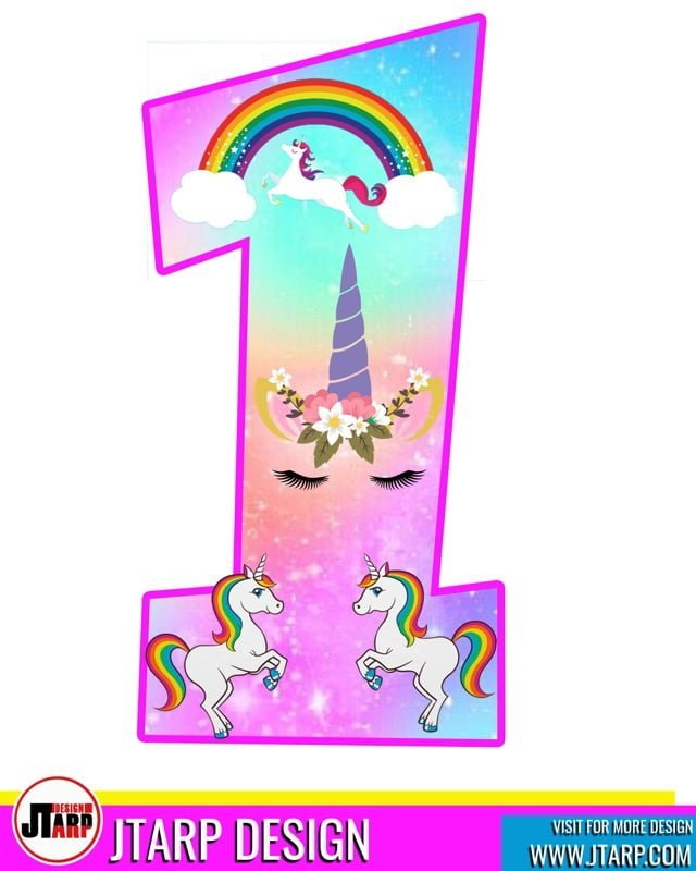 Free printable Number 1 Unicorn theme