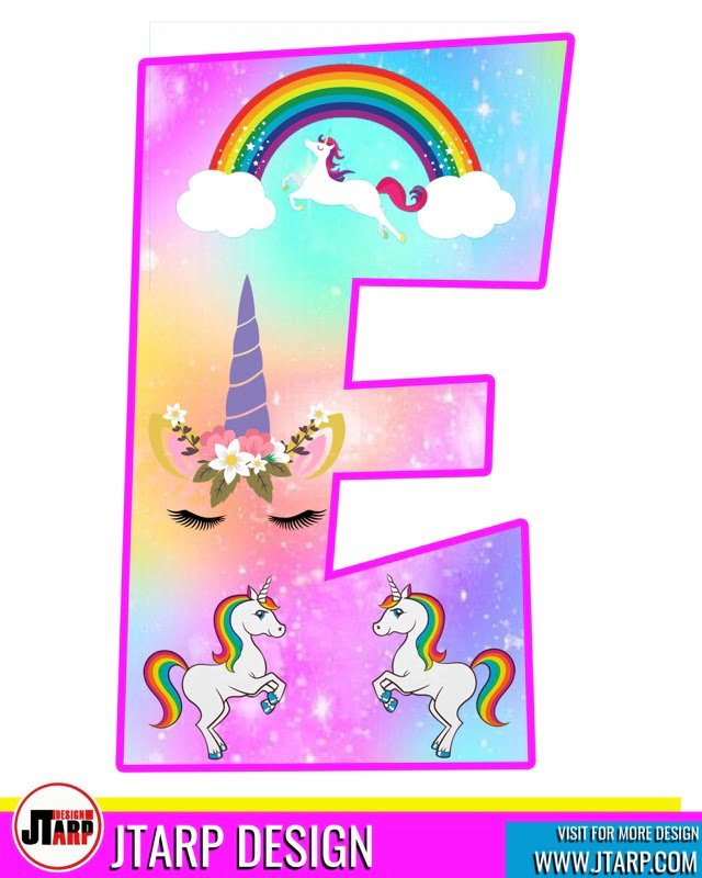 free unicorn party printables, Alphabet Letter E