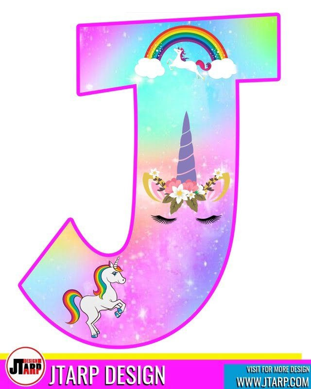 free unicorn party printables, Alphabet Letter J