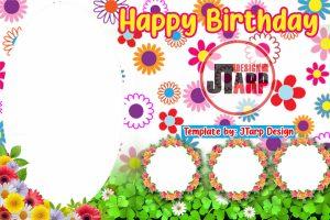Flower Theme Birthday Tarpaulin Design Template