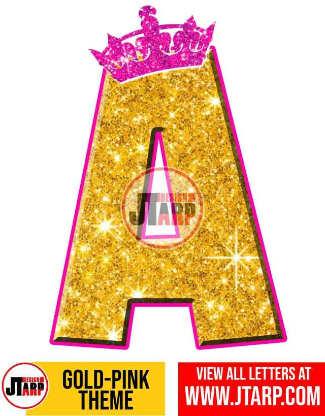 Letter A Gold and Pink Printables Tutu Unicorn Crown