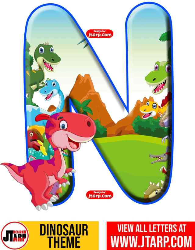 Letter N Free Printable Dinosaur Alphabet Letters