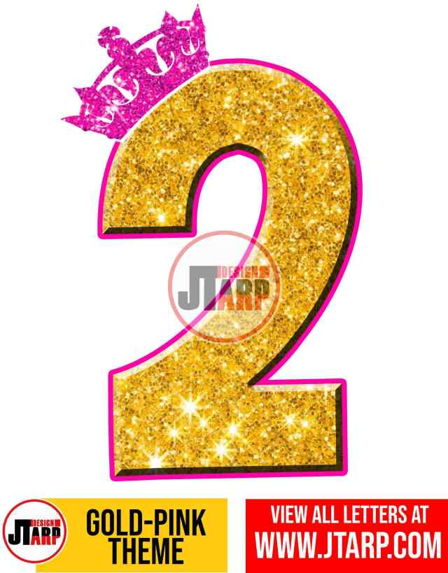 Number 2 Gold and Pink Printables Tutu Unicorn Crown
