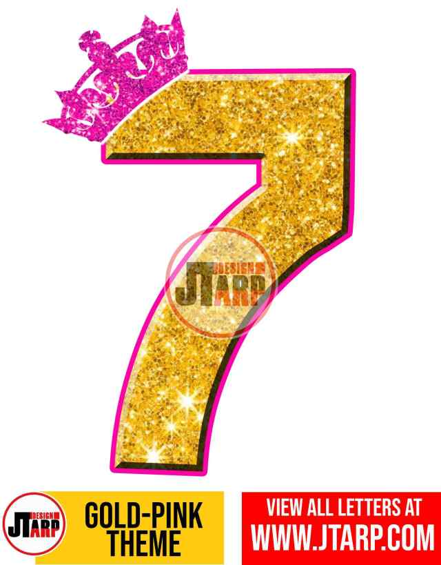Number 7 Gold and Pink Printables Tutu Unicorn Crown