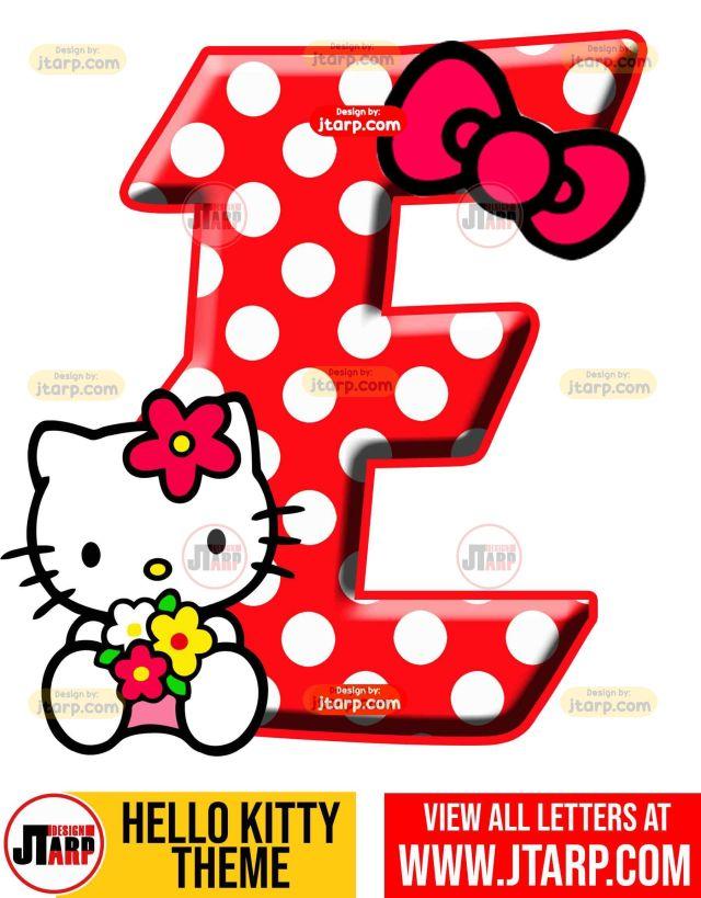 Letter E hello kitty printable letters design