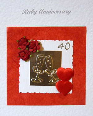 Red Roses and Hearts - Ruby Wedding Anniversary Card Closeup - Ref P101