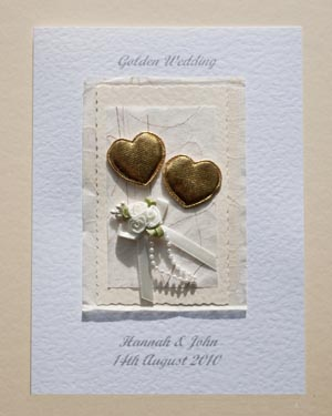 Hearts & Flowers - Golden Wedding Anniversary Card Front - Ref P106