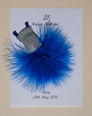 Flouncy feathers - blue - 18th/21st Birthday Card Front - Ref P107b