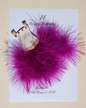 Flouncy feathers - cerise - 18th/21st Birthday Card Front - Ref P107c