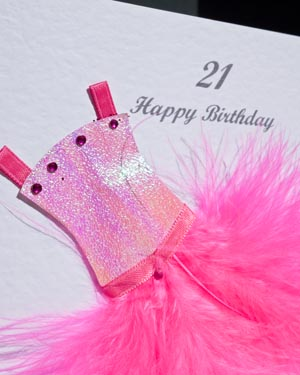 Flouncy feathers - hot pink - 18th/21st Birthday Card Closeup - Ref P107h