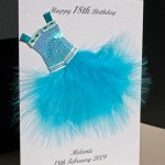 Flouncy feathers - turquoise - 18th/21st Birthday Card Angle - Ref P107t