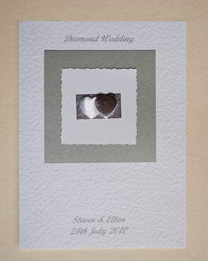 Diamond Hearts - Diamond Wedding Anniversary Card Front - Ref P110