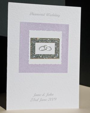 Diamond Rings - Diamond Wedding Anniversary Card Angle - Ref P111
