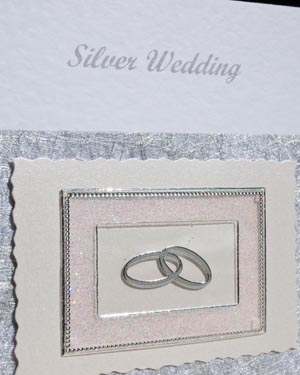 Silver Rings – Silver Wedding Anniversary Card Closeup – Ref P117