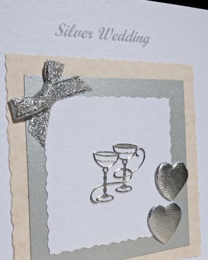 Silver Celebration - Silver Wedding Anniversary Card Closeup - Ref P119