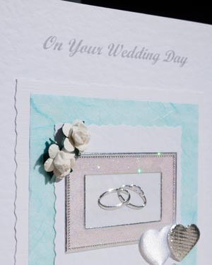 Roses, Hearts and Rings Wedding Card Closeup - Ref P127