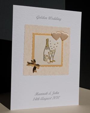 Golden Bubbles - Golden Wedding Anniversary Card Angle - Ref P128