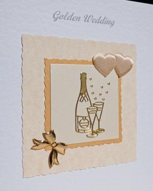 Golden Bubbles - Golden Wedding Anniversary Card Closeup - Ref P128