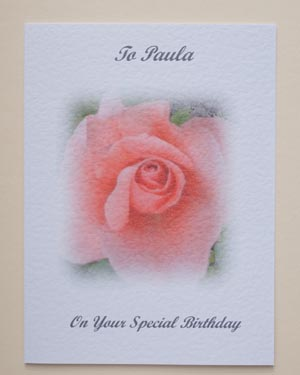 Peach Rose - Birthday Card Front - Ref P133