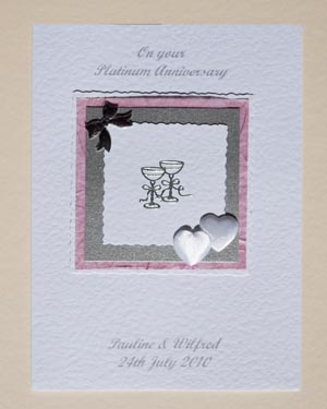 Platinum Hearts & Bows - Platinum Wedding Anniversary Card Front - P142