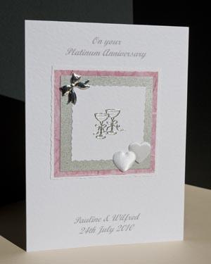 Platinum Hearts & Bows - Platinum Wedding Anniversary Card Angle - P142