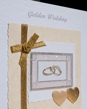 Gold Rings - Golden Wedding Anniversary Card Closeup (50 years)