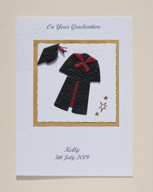 Black gown with red trim Graduation Card Front - Ref P145r