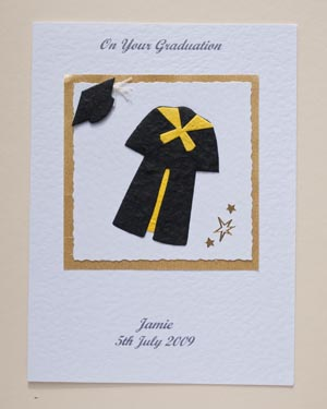Black Gown with Yellow Trim Graduation Card Front - Ref P145y