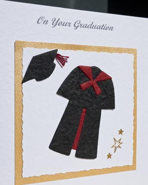 Black gown with red trim Graduation Card Closeup - Ref P145r