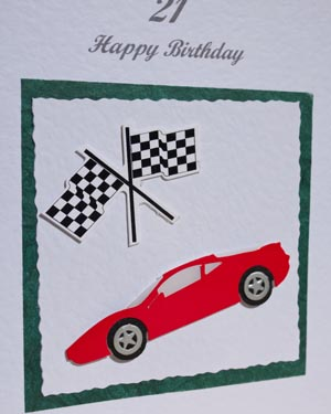 Sports Car and Flag - 21st Birthday Card Closeup - Ref P147