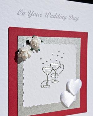 Champagne Glasses Wedding Card Closeup - Ref P149