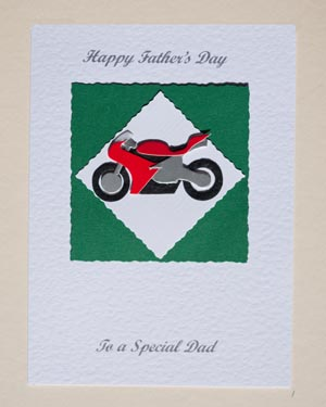 Red Motorbike Father's Day Card Front - Ref P150