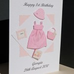 Pink Gingham - Girls Birthday Card Angle - Ref P160